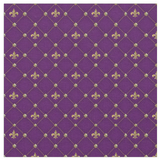 Vintage Fleur de Lis on Deep Dark Purple Pattern Fabric