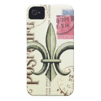 Vintage-Fleur de Lis postage-iphone 4 case