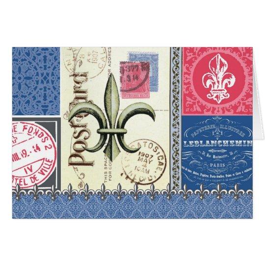 Vintage-Fleur de Lis postage-notecard Card