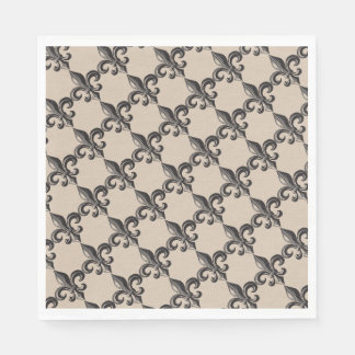 Vintage Fleur de Lis Print Napkins Disposable Serviettes