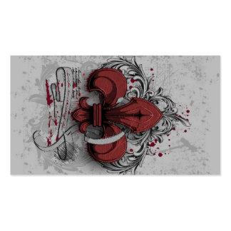 Vintage fleur-de-lis red metal grunge effects business card templates