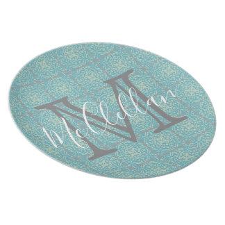 Vintage Fleur-de-lis Tile Melamine Plate