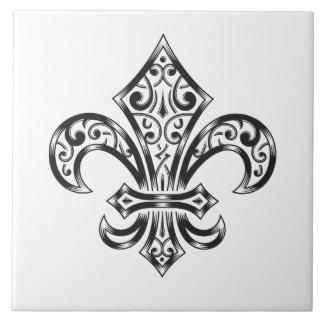 Vintage Fleur de Lis w/ Scrolls in Heraldry Style Large Square Tile