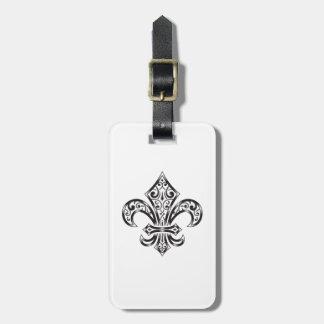Vintage Fleur de Lis w/ Scrolls in Heraldry Style Luggage Tag