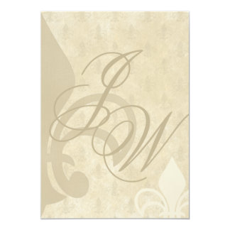 Vintage Fleur de Lis Wedding Anniversary Party Card