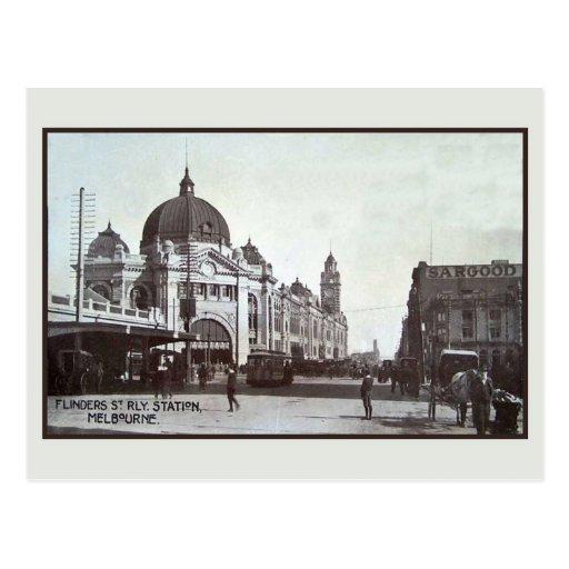 Vintage Flinders Street, station, Melbourne Post Cards