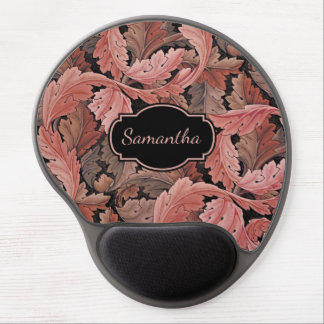 Vintage Floral Acanthus Pattern with Monogram Gel Mouse Pad