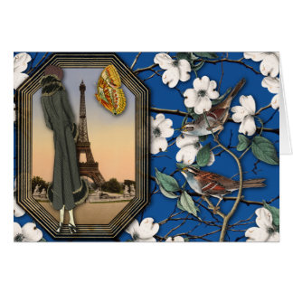 Vintage Floral and Eiffel Tower Collage Card