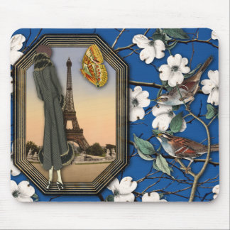 Vintage Floral and Eiffel Tower Collage Mousepad
