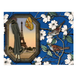 Vintage Floral and Eiffel Tower Collage Postcard