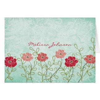 Vintage Floral and Leaves Personalised Notecard