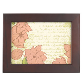 Vintage Floral and Vintage Text - Personalize!! Memory Boxes