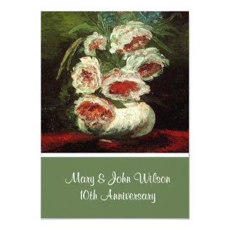 Vintage floral anniversary celebration, Van Gogh 13 Cm X 18 Cm Invitation Card