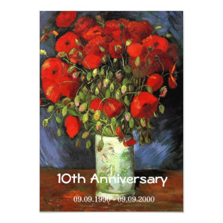 Vintage floral anniversary Vase with Red Poppies Card