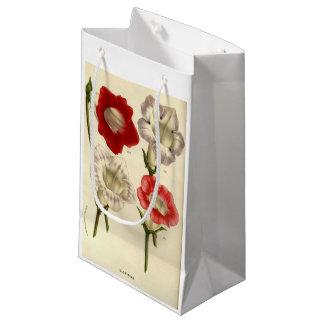 Vintage floral art gloxinia red flower gift bag