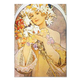 """Vintage Floral Art Nouveau 5"""" X 7"""" Invitation Card"""