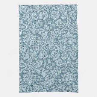 Vintage floral art nouveau blue green pattern tea towel