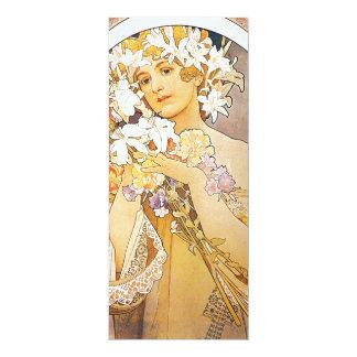"""Vintage Floral Art Nouveau 4"""" X 9.25"""" Invitation Card"""