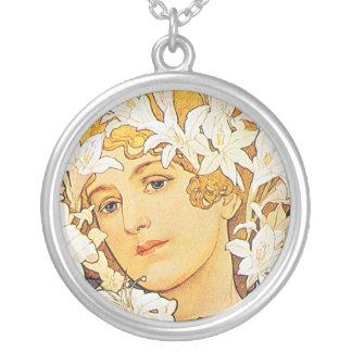Vintage Floral Art Nouveau Personalized Necklace