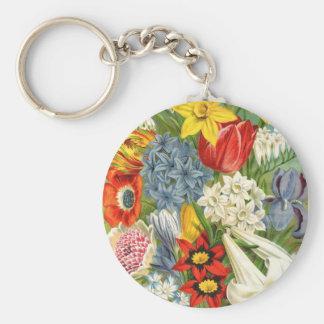 Vintage Floral Assortment Key Chain