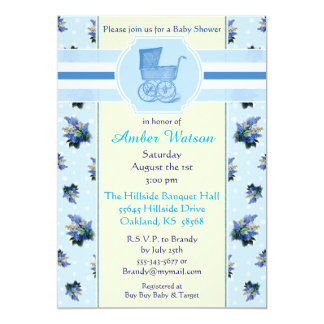Vintage Floral Baby Carriage Baby Shower Invite