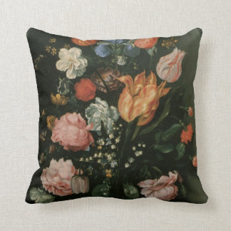 Vintage Floral Baroque, Vase of Flowers in a Niche Cushion