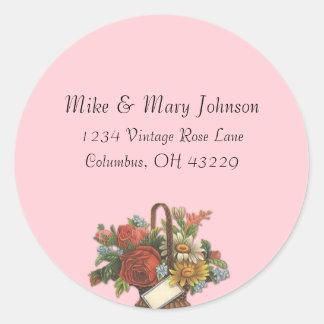 Vintage Floral Basket on Pink Address Labels Stickers