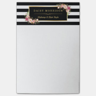 Vintage Floral Beauty Salon Black White Stripes Post-it Notes