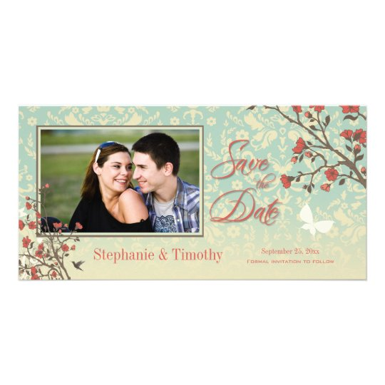 Vintage floral bird + damask save the date photo card