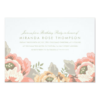 Vintage Floral Birthday Party Invite