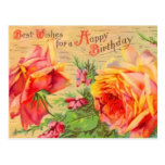 Vintage Floral Birthday Postcard