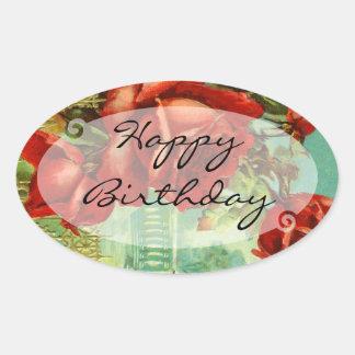Vintage Floral Birthday Oval Sticker