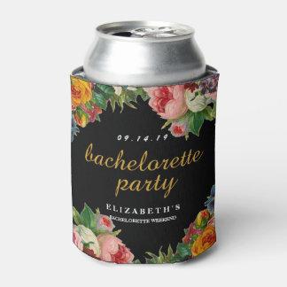 Vintage Floral Black Bachelorette Party Can Cooler