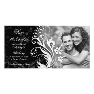 Vintage Floral Black White Wedding Save the Date Photo Card