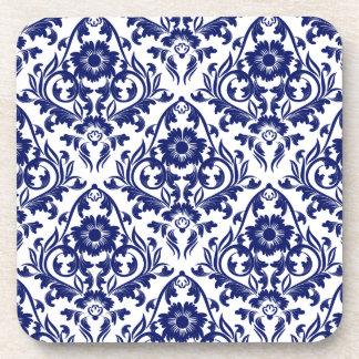 Vintage Floral Blue And White Damask Flower Coaster