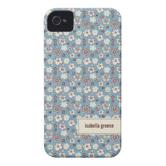 Vintage Floral Blue Pattern iPhone 4 Cover