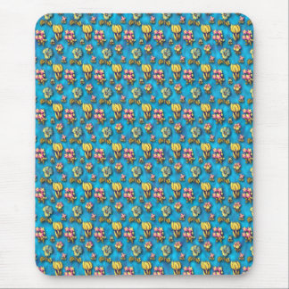 Vintage floral blue pattern mouse pad