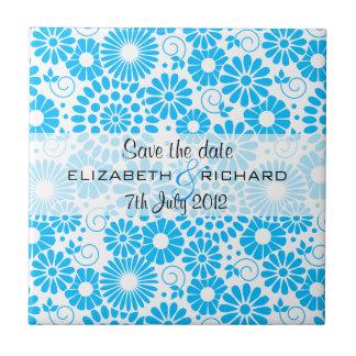 """Vintage floral blue """"Save the date"""" Tile"""