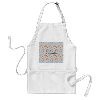 Vintage floral blue victorian girly shabby chic adult apron