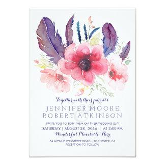 Vintage Floral Boho Watercolor Wedding Card