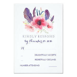 Vintage Floral Boho Wedding RSVP Card