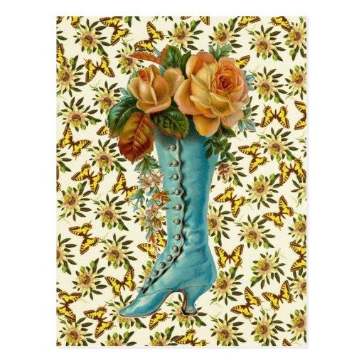 Vintage Floral Boot Postcard