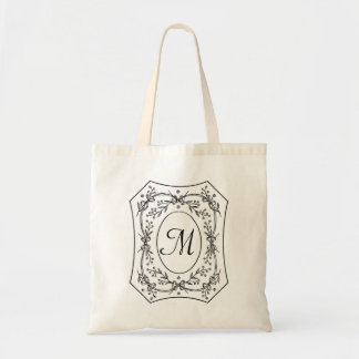 Vintage Floral Border Elegant Monogram Custom Tote Bag