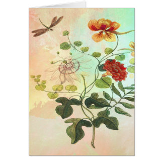 Vintage Floral Botanical Illustration Flowers Art Card