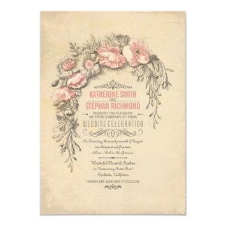 Vintage Floral Botanical Wedding 13 Cm X 18 Cm Invitation Card