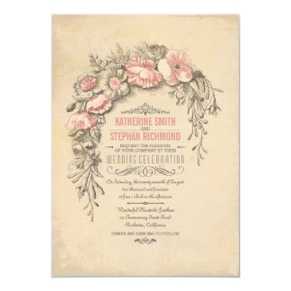 Vintage Floral Botanical Wedding Card