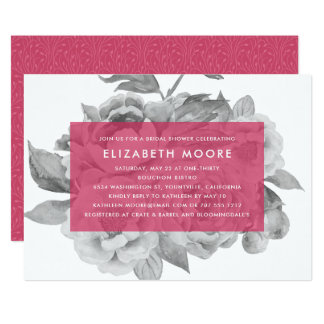 Vintage Floral Bridal Shower Invitation | Berry