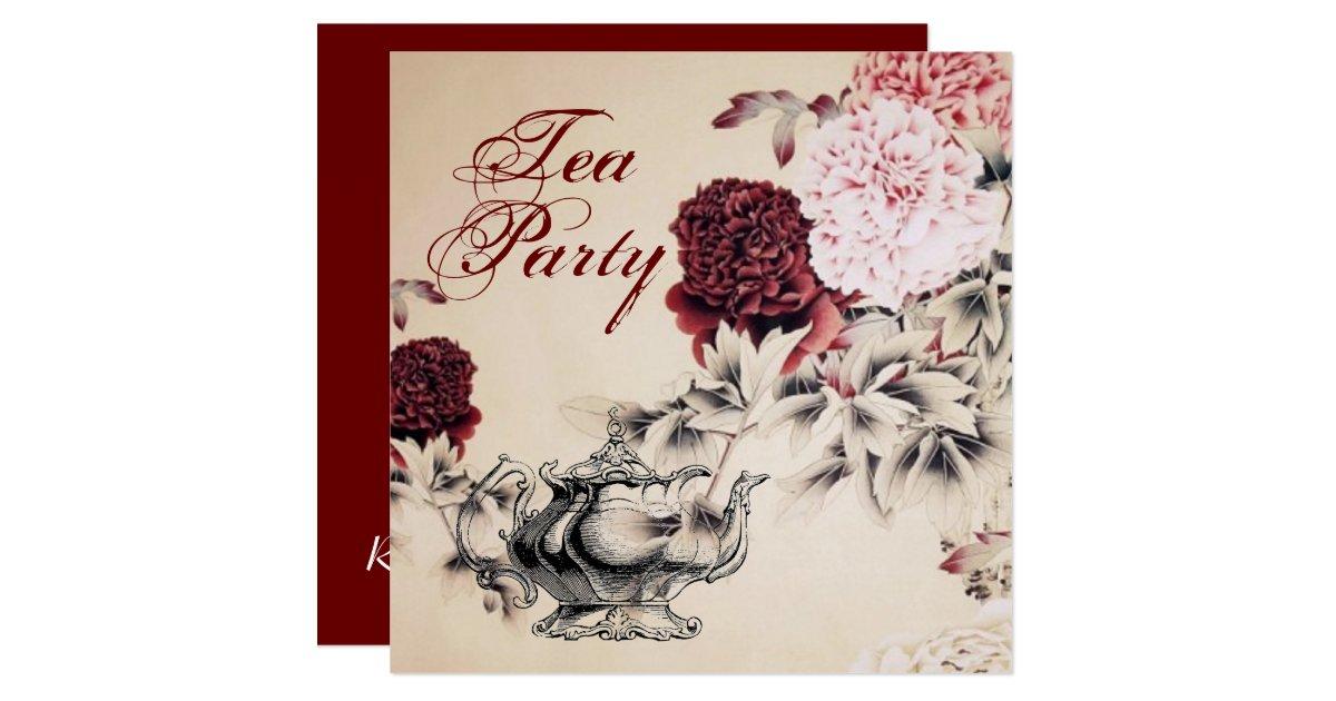 Vintage Tea Party Wedding Invitations: Vintage Floral Bridal Shower Tea Party Invitation