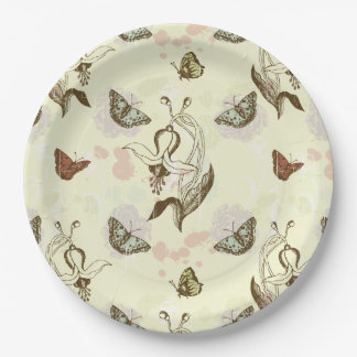 Vintage Floral Butterfly Pattern 9 Inch Paper Plate