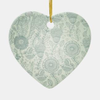 Vintage Floral Ceramic Heart Decoration